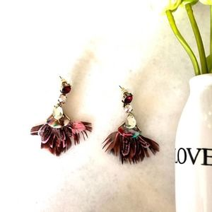 Feathers and Stones Earrings Ruby Red Boho Glam